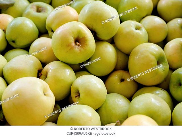 Stack of fresh green apples