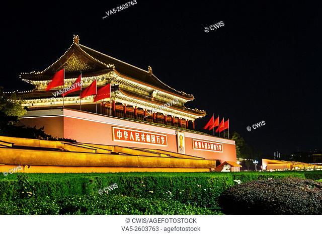 Beijing, China - Beautiful night view of Tiananmen Tower