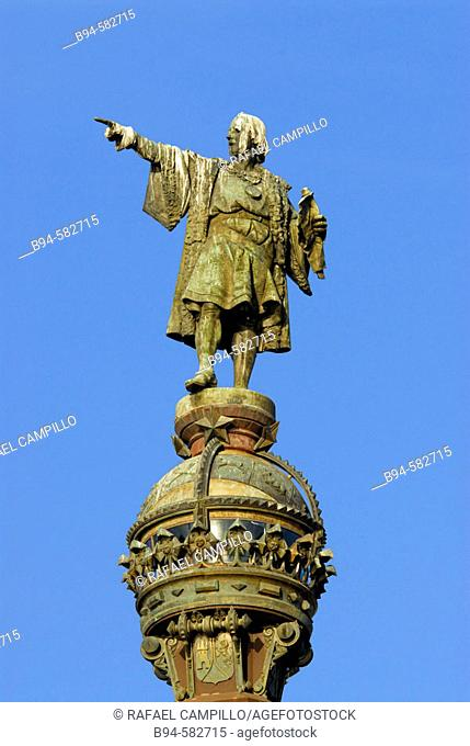 Christopher Columbus statue, Barcelona. Catalonia, Spain