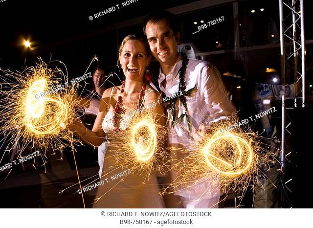 Sparklers used during wedding celebration