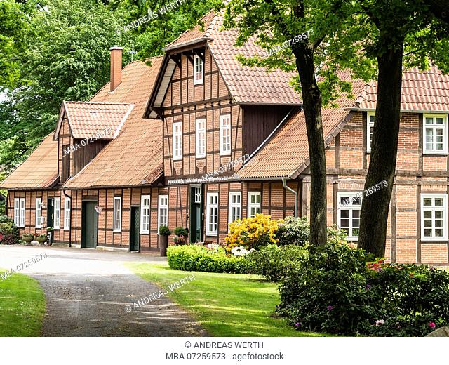 Traditional half-timbered farm house, spring, Celle, Germany