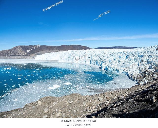 Eqip Glacier (Eqip Sermia or Eqi Glacier) in Greenland. Polar Regions, Denmark, August