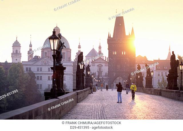 Spires of the old town, Charles Bridge, Prague, Czech Republic