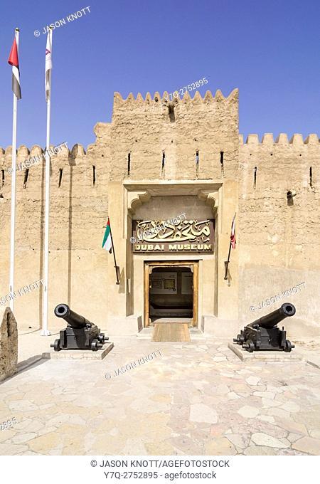 Dubai Museum entrance at the Al Fahidi Fort, Bur Dubai, Dubai, UAE