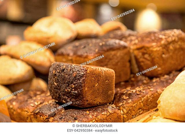 Breads and baked goods close-up in the supermarket