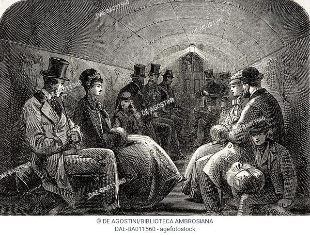 Interior of a carriage, the Thames subway at Tower Hill, London, illustration from the magazine The Illustrated London News, volume LVI, April 9, 1870