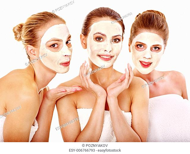 Group women with facial mask in beauty spa