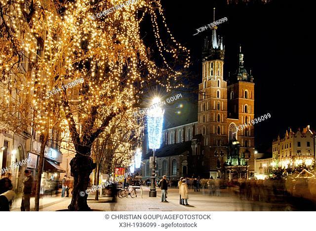 Christmas lights on Main market square, Krakow, Poland, Central Europe