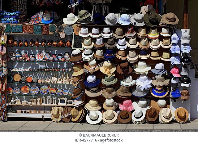 Street stall, souvenir shop, hats, Knossos, Crete, Greece