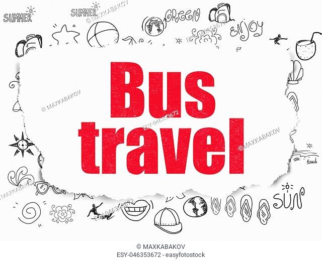 Travel concept: Painted red text Bus Travel on Torn Paper background with Hand Drawn Vacation Icons