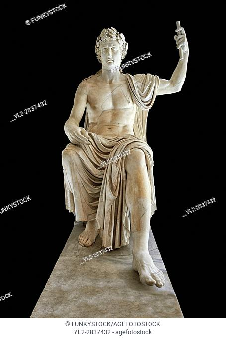 Roman colossal seated staue of Augustus Caesar, white marble, late first century B. C, inv 6040, Naples National Archaeological Museum, black background