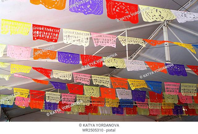 Celebratory flags in mexico traditional mexican paper bunting decoration