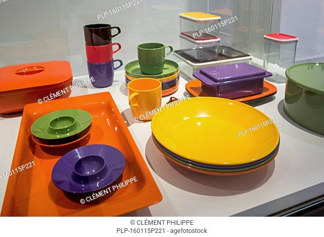 Mepal plastic camping tableware and storage boxes in the Design Museum Gent in the city Ghent, East Flanders, Belgium