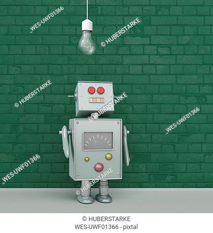 Robot under light bulb, 3d rendering