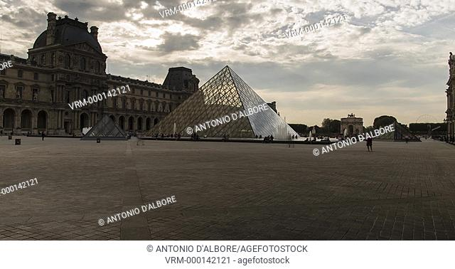 Hyperlapse at Louvre Pyramids. Paris. France