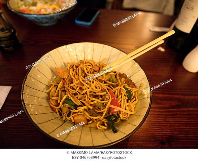 Noodles in the plate