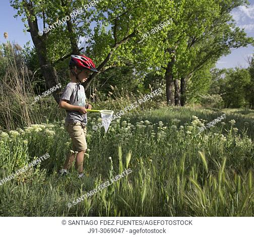 Children catching insects. Rio Henares. Madrid Province. Spain