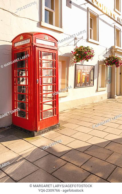 Red telephone booth in the streets of Peebles, Scotland, UK
