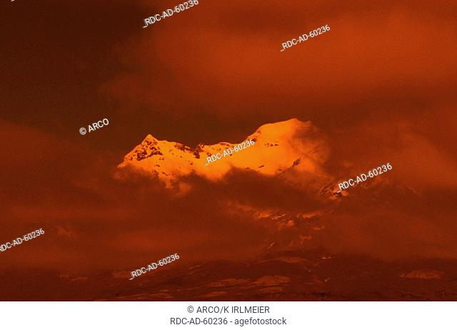 Peak of Mount Ruapehu in morning light 2797m Tongariro National Park New Zealand