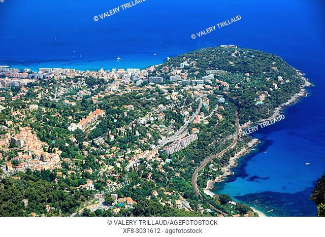 Aerial view. Roquebrune Cap Martin, Alpes-Maritimes, 06, Cote d'Azur, PACA, France