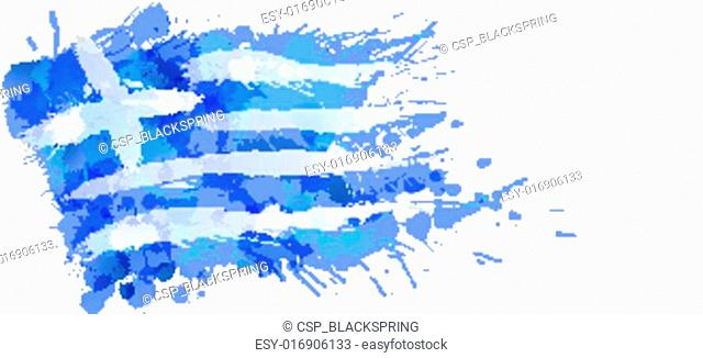 Greek flag made of colorful splashes