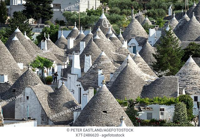 The typical conical stone roofs of trulli houses at Alberobello, Puglia, Italy