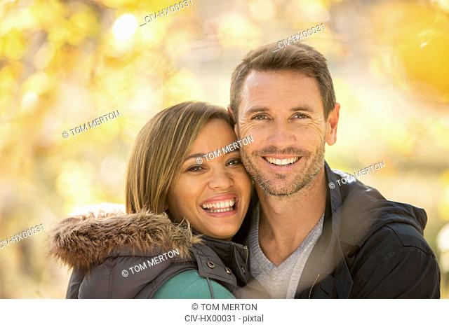 Portrait smiling couple outdoors