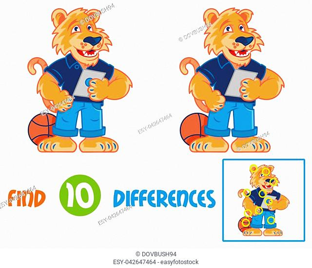 Find differences logic education interactive game for children. Very cute and happy cartoon tiger which smile and keep and using the tablet gadget