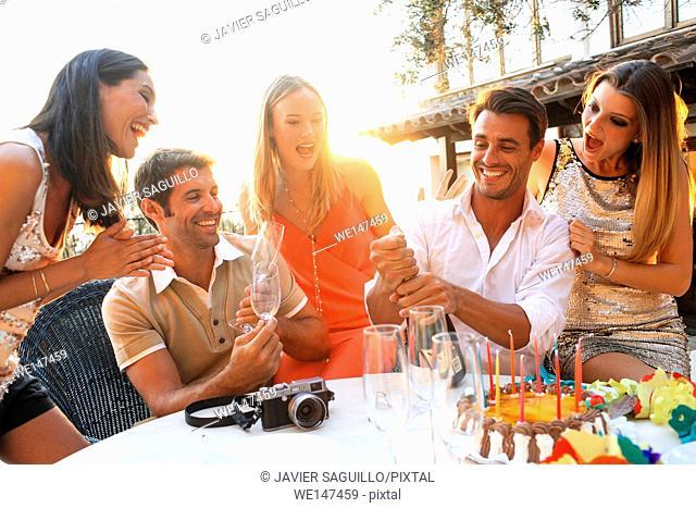 Friends enjoying birthday party