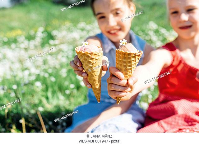 Two girls in meadow holding ice cream cones