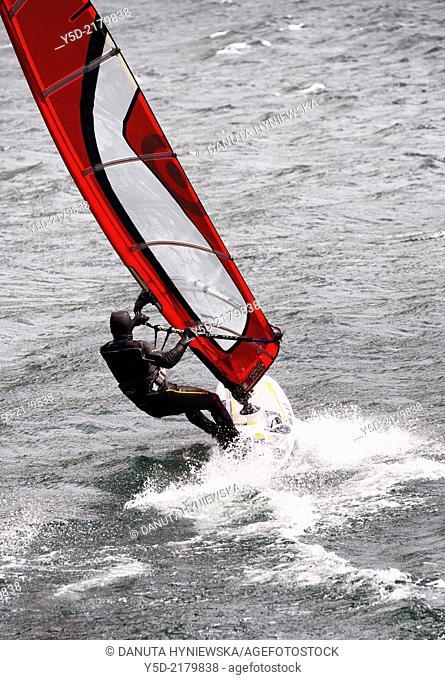 windurfing, Lake Como, Lombardy, Italy