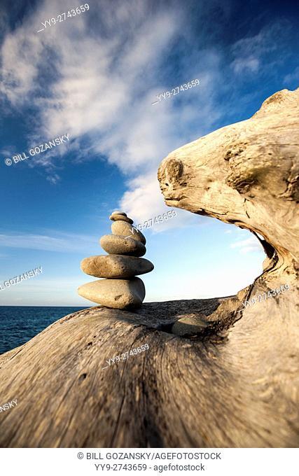 Rock Cairn - Ediz Hook, Port Angeles, Washington, USA