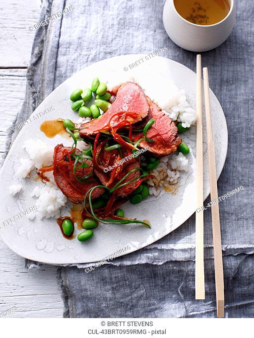 Plate of sukiyaki beef with rice