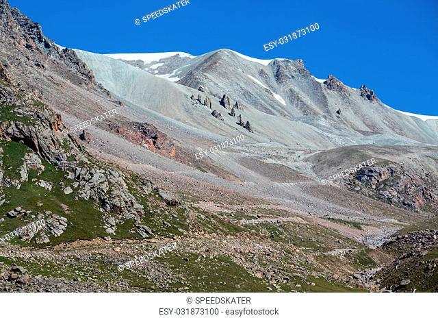 Landscape of weird tien Shan mountains. Kyrgyzstan
