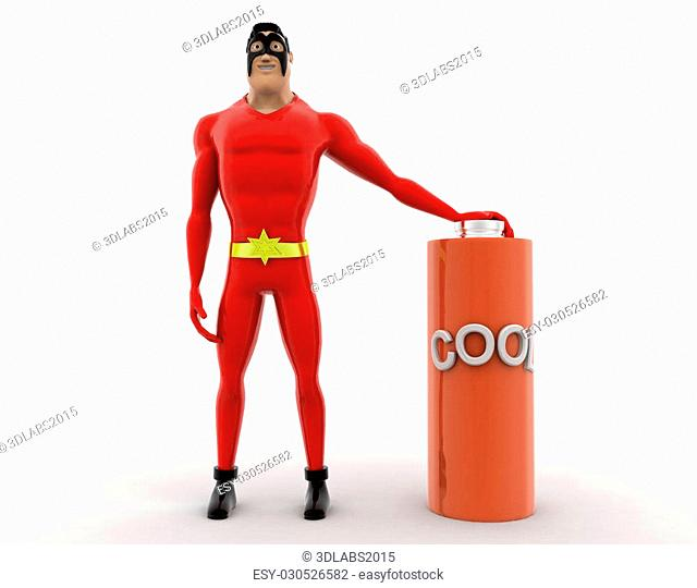 3d superhero with cool battery concept on white background, front angle view