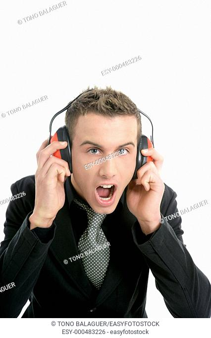Businessman shout, noisy enviroment, headphones, isolated on white
