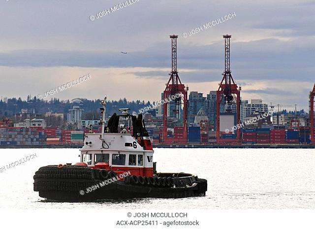 A tugboat in Vancouver BC's harbour