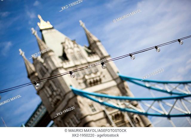 Close up of Light bulbs and Tower Bridge, London, UK