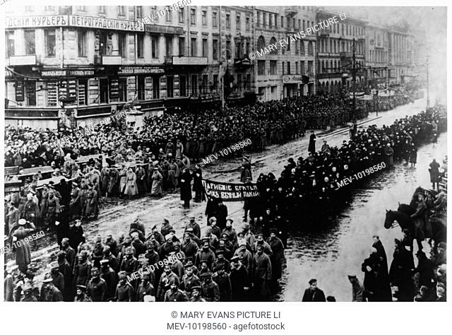 A solemn procession on the Nevski Prospekt, Petrograd, mourns those who gave their lives in the name of freedom
