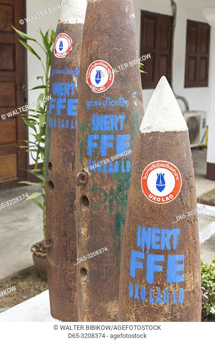 Laos, Luang Prabang, UXO Laos Information Center, organization dedicated to clearing unexploded ordnance, exterior with bombs