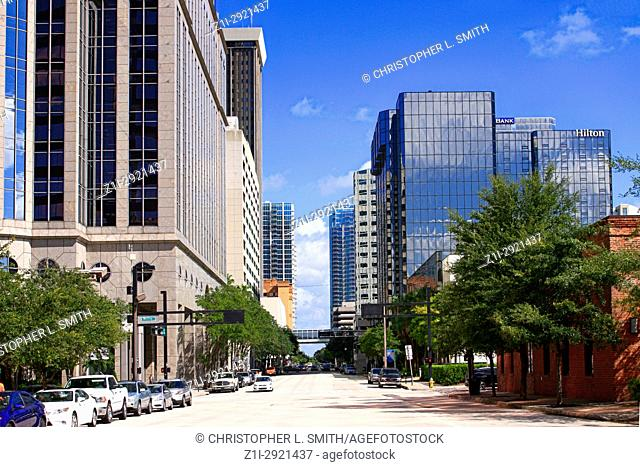 Skyscrapers on N. Tampa Street in downtown Tampa FL, USA
