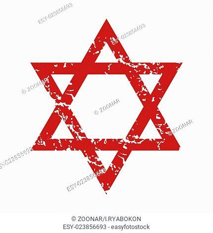 Red grunge Judaism logo