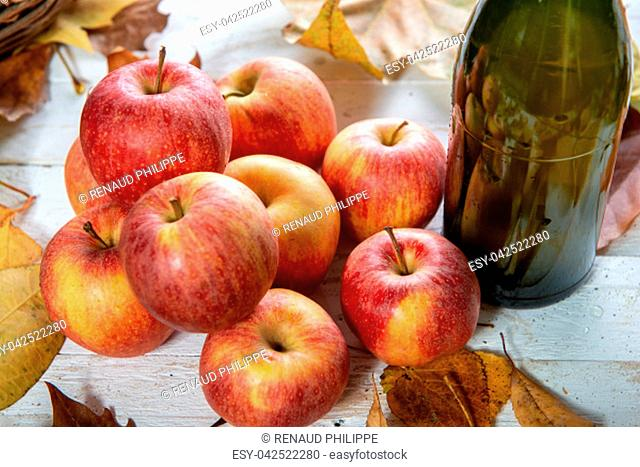 autumn leaves with a bottle of cider and and apples