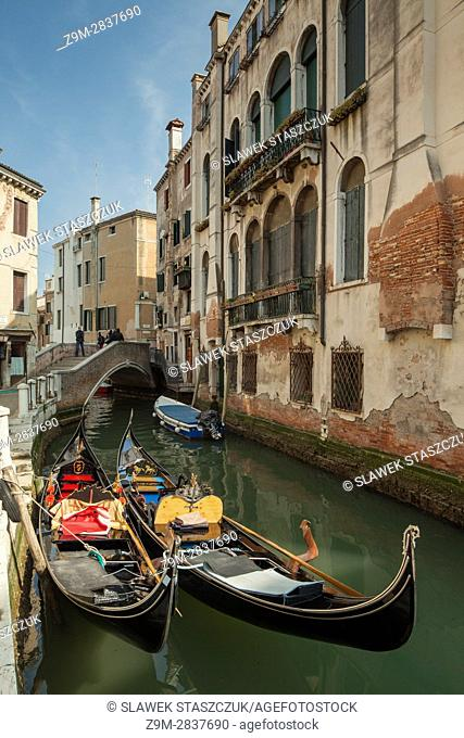 Gondolas on a canal in the sestier of Cannareggio, Venice, Italy