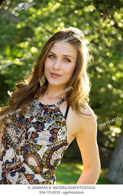 A young woman outdoors in Spokane, Washington, USA