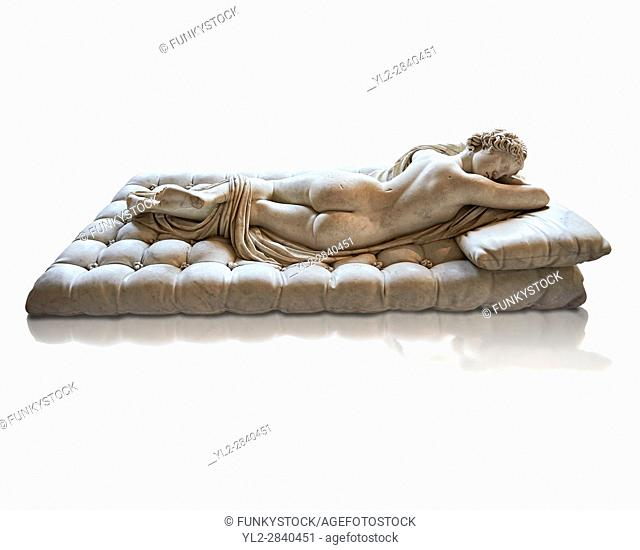 Sleeping Hermaphroditus, The Borghese Hermaphrodite. A Life size ancient 2nd century AD Roman statue sculpted in Greek Marble and found in the grounds of Santa...