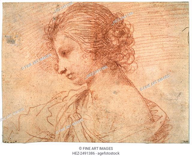 'Breast portrait of a young female', 17th century. Guercino (1591-1666). Found in the collection of the State A. Pushkin Museum of Fine Arts, Moscow