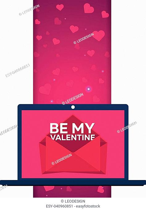 Happy Valentines Day. Laptop with envelops. Vector flat illustration