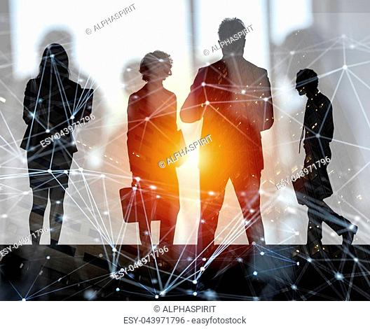 Business people work together in office with skyscraper on background with internet network effects. Concept of teamwork and partnership