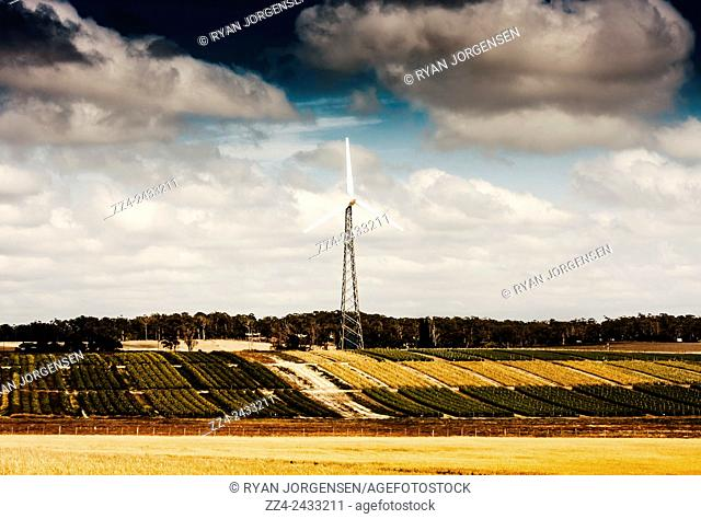 Horizontal farming landscape of a wind powered turbine rotating in an Australian agriculture field. Renewable energy in motion